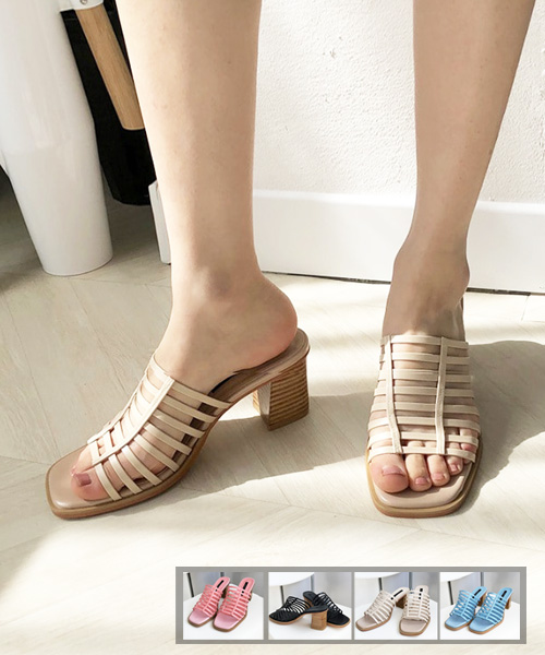 ★韓系★Jasmine ROMA個性羅馬皮革織帶木製高跟涼拖鞋
