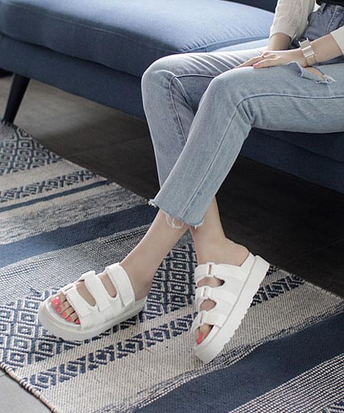 ★韓系★Paul Clinton個性粗紋帆布三帶魔術帶厚底半拖鞋 (兩色)