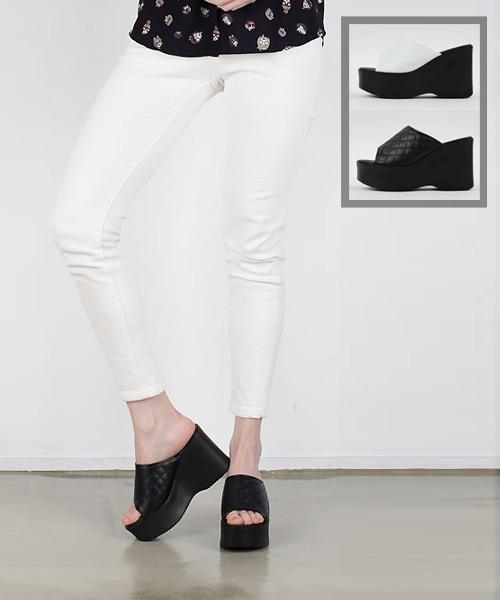 ★正韓★HARVEY Platform時尚質感菱格紋皮革增高厚底涼拖鞋 (兩色)