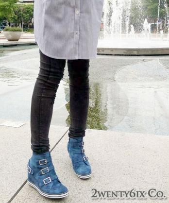 ★MIT★ Avril 個性水洗牛仔布高筒楔型鞋 (現貨#35~38)
