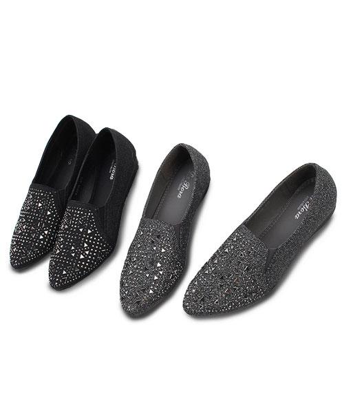 ★韓系★PUNK LOLI 個性龐克幾何燙鑽 樂福尖頭平底鞋 (兩色)