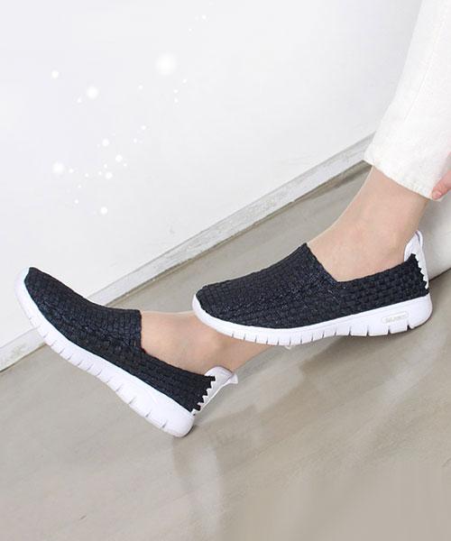 ★韓系★Casual Woven休閒質感編織厚底休閒運動鞋 (兩色)