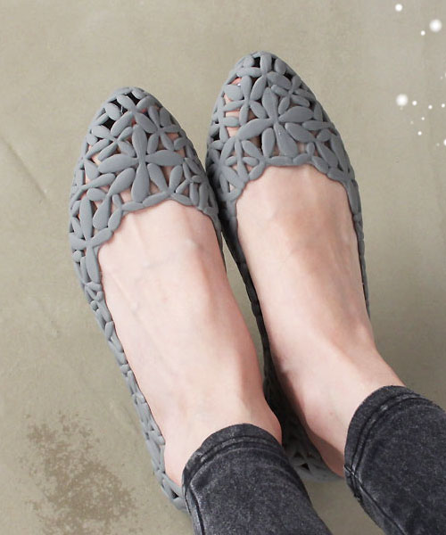 ★韓系★Jelly Blossom 時尚休閒 透氣果凍雕花 柔軟平底鞋 (五色)