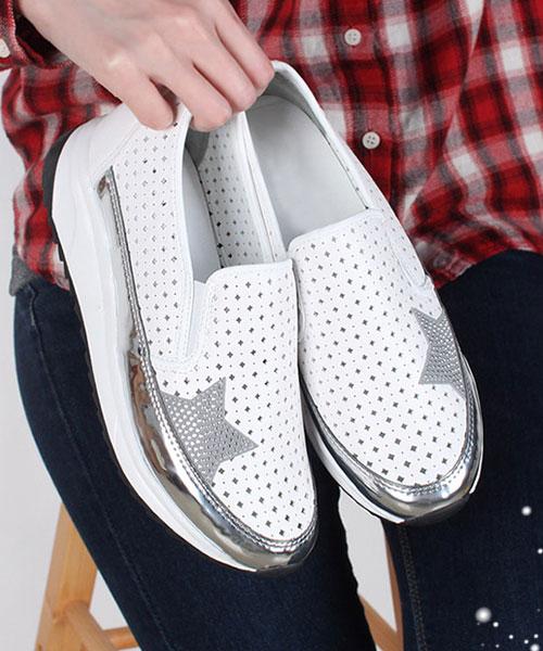 ★正韓★Star Flash時尚個性菱形透氣沖孔星金屬厚底懶人鞋 (兩色)