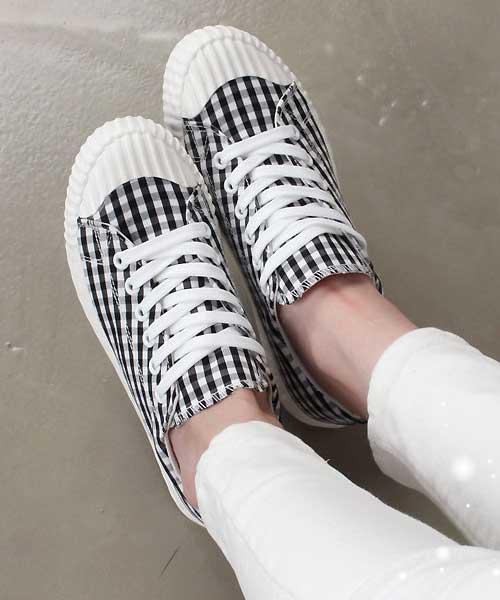 ★韓系★Classic Plaid 個性經典格紋繫帶波浪紋平底休閒鞋