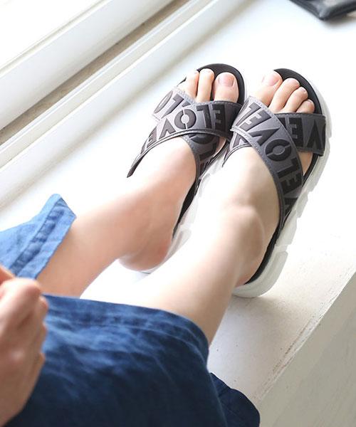 ★正韓Ollie★Amour Slipper個性撞色LOVE大字厚底涼拖鞋 (七色)