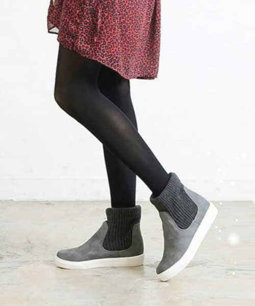 ★正韓Ollie★Polar Cotton冬漾壓紋皮革拼接棉布厚底休閒短靴