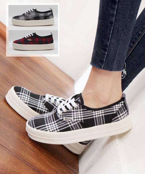 ★正韓★Plaid Wood-Lace 簡約經典格紋繫帶平底懶人鞋 (兩色)