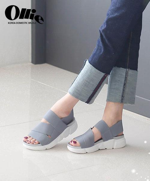 ★正韓Ollie★Stin Straps個性休閒寬帶舒適彈性布厚底涼鞋 (兩色)
