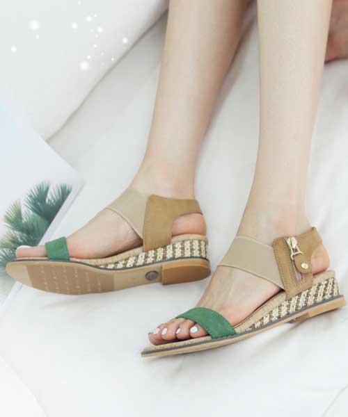 ★韓系★Sunshine Samui 麂皮絨一字帶竹編楔型厚跟涼鞋 (三色)