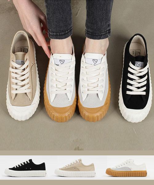 ★韓系★FCS Cookie質感帆布皮革造型餅乾橡膠厚底休閒鞋 (三色)