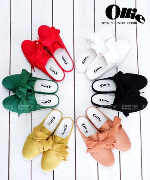 ★正韓Ollie★Honey Semi-Slipper 經典可愛Q版繫帶休閒帆布半拖鞋 (六色)