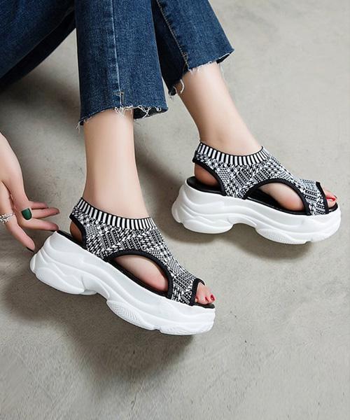 ★韓系★Dad Style VL厚底老爹鞋親膚彈性布涼拖鞋 (兩色)