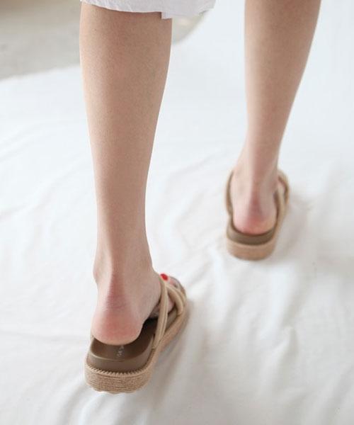 ★韓系★Summer Gypsy夏日普普風簡約麻繩帶平底休閒涼拖鞋 (三色)