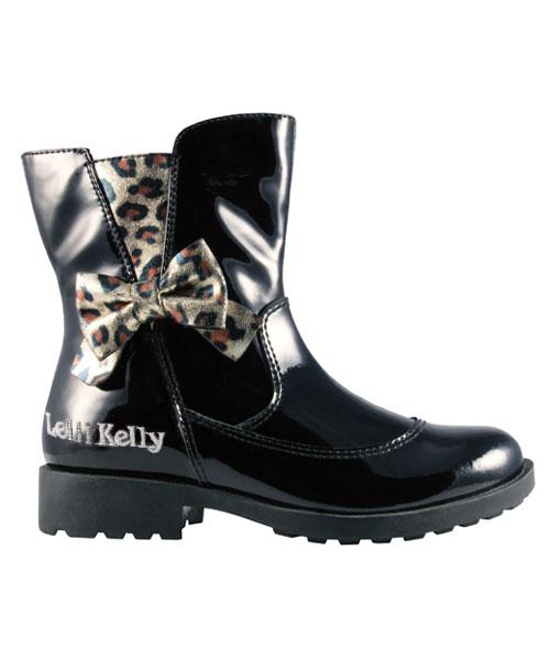 ★義大利進口Lelli Kelly★時尚甜美豹紋蝴蝶結中低筒靴/童靴 (現貨#26-37)