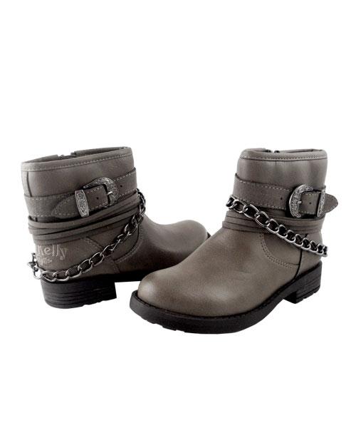 ★義大利進口Lelli Kelly★個性騎士金屬後飾鍊短靴/童靴 (現貨#28-37)