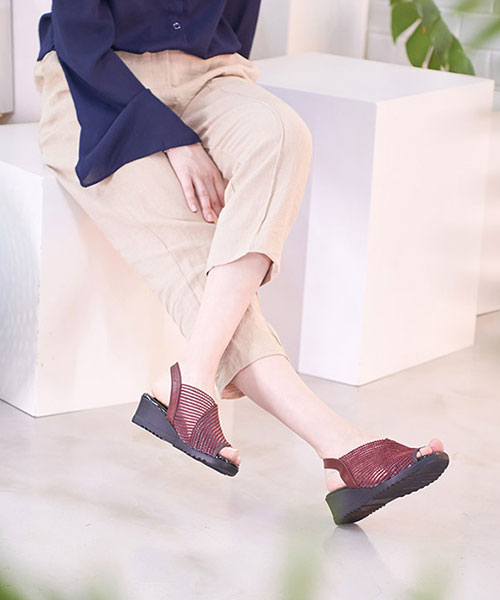 ★正韓★KATTY NET個性高棉交織編網皮革4.5cm厚底露趾涼鞋 (三色)