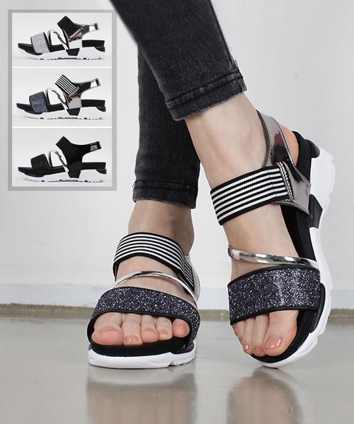 ★正韓★Glitter Straps個性休閒閃粉皮革拼接舒適彈性帶厚底涼鞋 (三色)