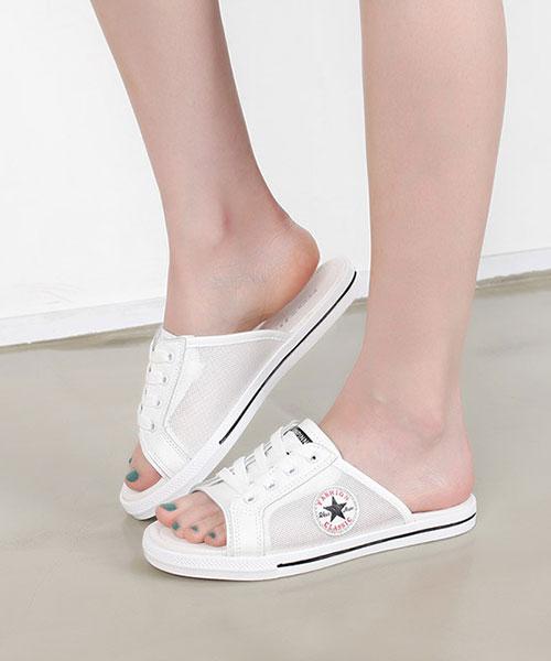 ★韓系★Star Thorn率性夏日藍調質感皮革繫帶露趾半拖鞋 (兩色)