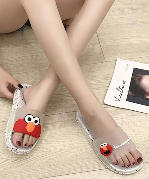 ★韓系★Sweet Sesame 俏皮芝麻街半透明可愛印刷厚底拖鞋 (四色)