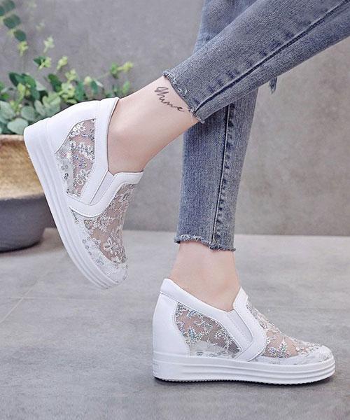 ★韓系★TODDLC 時尚率性蕾絲透膚皮革3.5cm內增高厚底休閒鞋 (兩色)