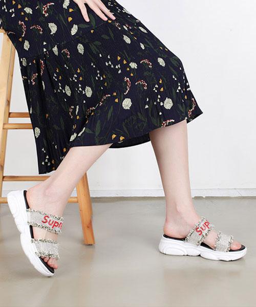 ★韓系★HOZJIR 時尚率性 帥氣撞色排鑽 鬚鬚帆布雙帶 厚底拖鞋 (兩色)