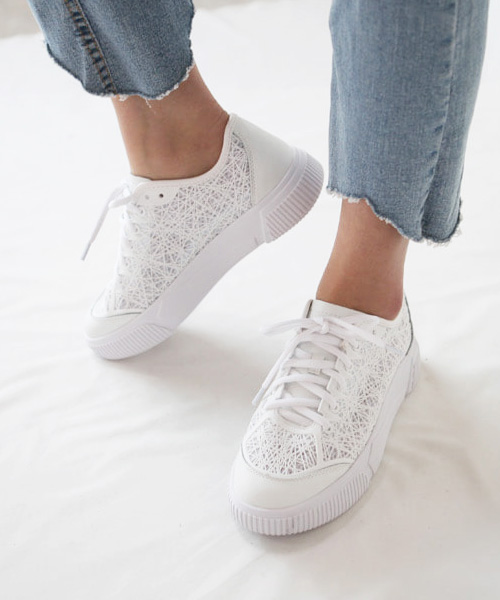 ★韓系★Novia White時尚個性網絲透膚休閒繫帶平底小白鞋