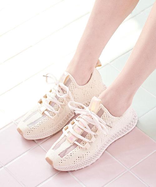★韓系★Roxanne休閒柔軟透視透氣織布繫帶休閒運動鞋 (3色)