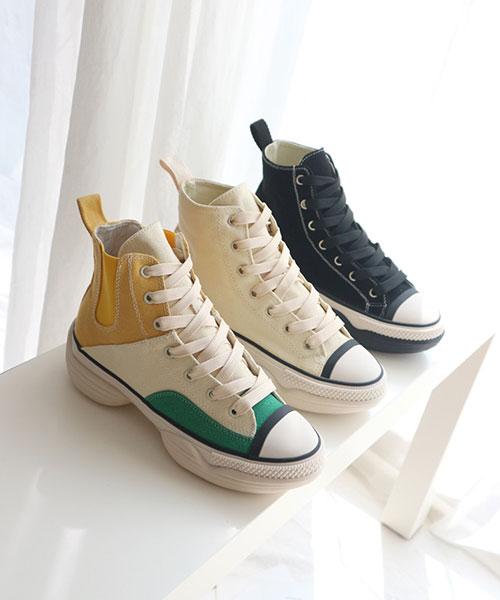 ★韓系★COODY H.休閒時尚撞色粗帆布5cm厚底高筒帆布鞋 (三色)