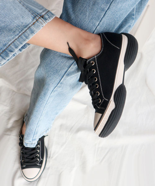 ★韓系★COODY W.休閒時尚撞色粗帆布5cm厚底低筒帆布鞋 (三色)