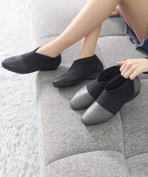 ★正韓 JANICE★時尚個性真皮拼接彈性布Q版鬆緊帶 防滑休閒鞋 (兩色)