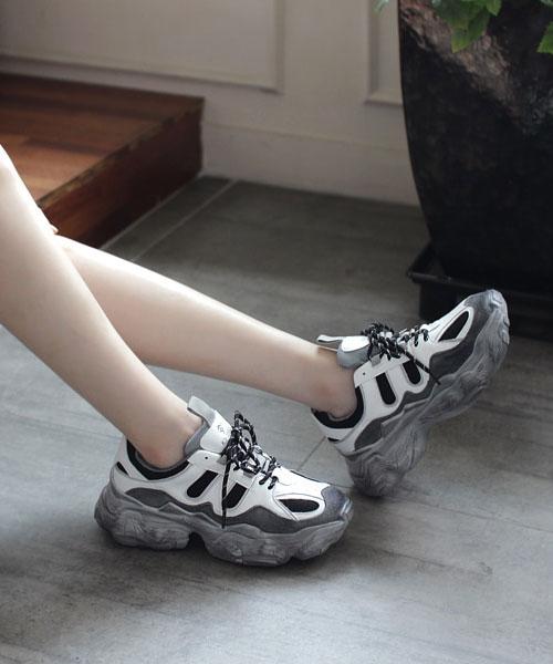 ★韓系★HUBO LEATHER時尚個性質感真皮造型刷色6cm厚底老爹鞋