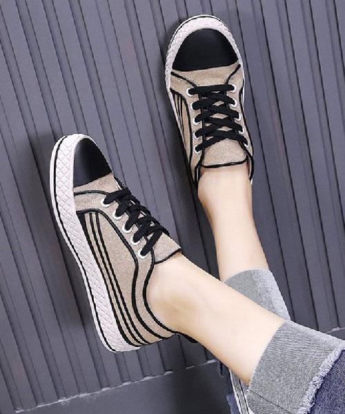 ★韓系★Silhouette設計師款-簡約撞色皮革拼帆布線條繫帶休閒鞋 (兩色)