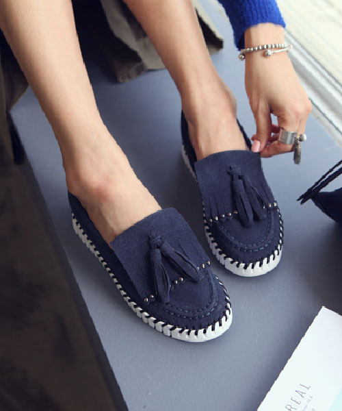 ★韓系★Urban Tassel質感麂皮絨圓鉚釘流蘇穿繩繞底樂福鞋 (兩色)