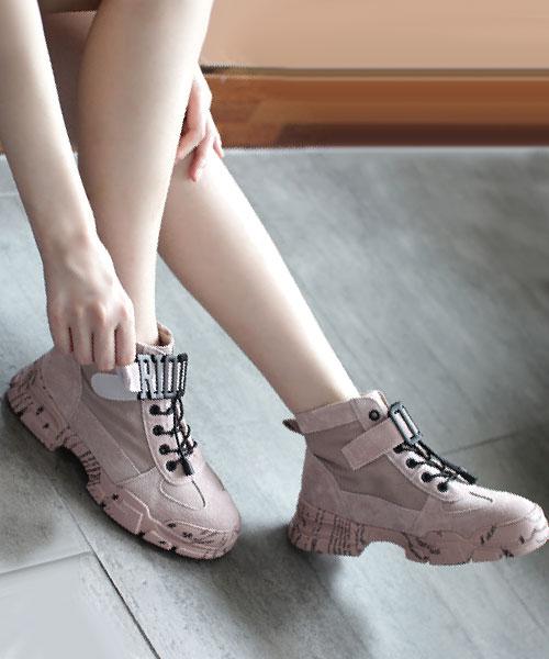 ★韓系★Briery Leather反毛真皮個性塑扣束繩4.5cm厚底休閒鞋/馬汀鞋