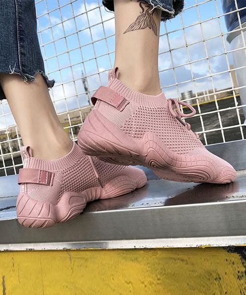 ★韓系★SPARK II 時尚率性網布棉繩繫帶厚底休閒運動鞋 (三色)