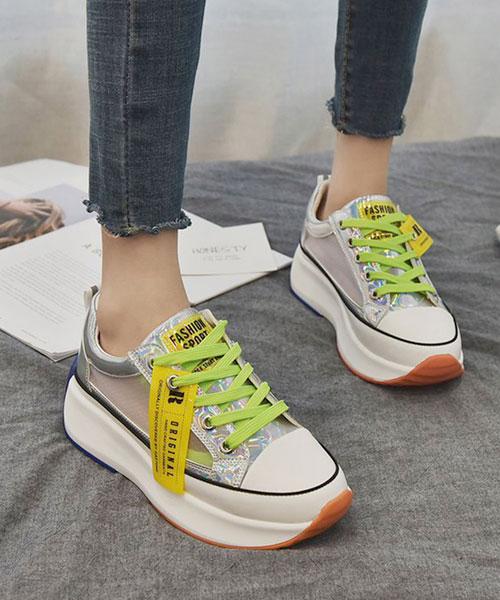 ★韓系★ORIGINAL BL夏日個性撞色皮革透視透氣網布亮鞋帶5cm厚底鞋 (兩色)