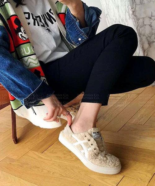 ★韓系★DENIM TEDDY時尚率性針織羊羔捲捲毛泰迪鞋/懶人鞋/踩腳鞋 (兩色)