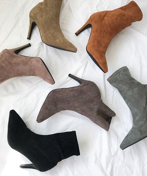 ★韓系★ENZO Heel時尚柔美麂皮絨 9CM 高跟尖頭短靴 (6色)