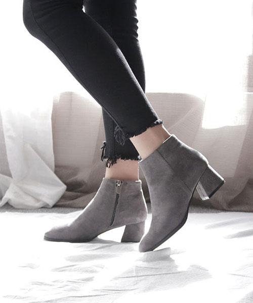 ★韓系★Diary Suede時尚質感麂皮絨 5.5CM粗方跟側拉鍊短靴 (2色)