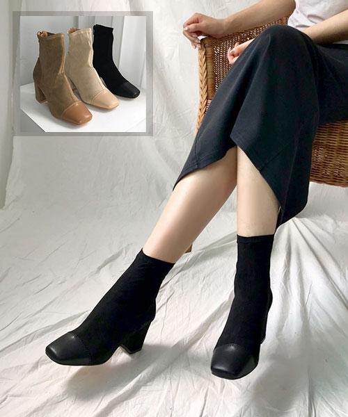 ★韓系★Ashley Suede時尚皮革拼接麂皮絨 6CM粗方跟後拉鍊短靴 (3色)