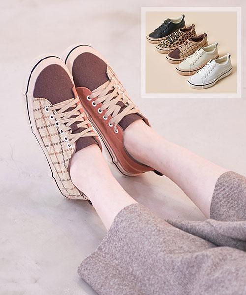 ★韓系★Gwendolyn Rock 個性休閒帆布皮革繫帶平底鞋 (5色)
