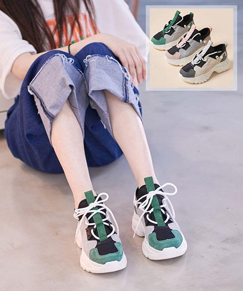 ★韓系★Maxine個性休閒拼色真皮圓繫帶 5.5CM厚底老爹鞋 (2色)