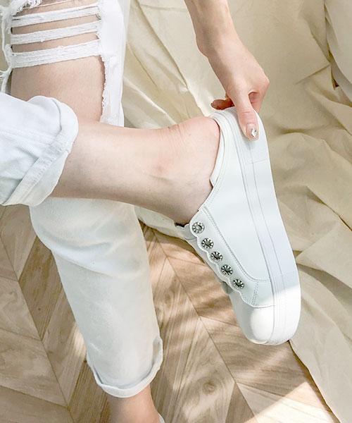 ★韓系★UDO 個性休閒皮革彈性鬆緊帶造型鞋眼平底休閒鞋/踩腳鞋