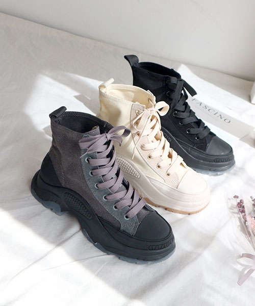★韓系★Harley Canvas個性帆布拼接皮革厚底高筒繫帶休閒鞋 (3色)