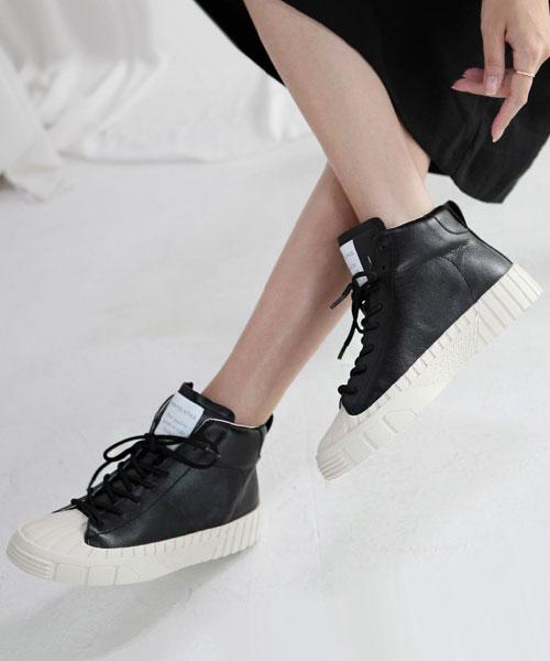 ★韓系★JACOB MTS個性真牛皮圓繫帶 4cm厚底高筒休閒鞋 (三色)