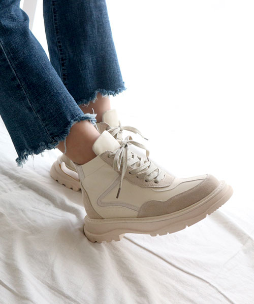 ★韓系★Jerome ★ 率性迷人 雙皮革拼接 造型4cm厚底 繫帶休閒鞋 (兩色)