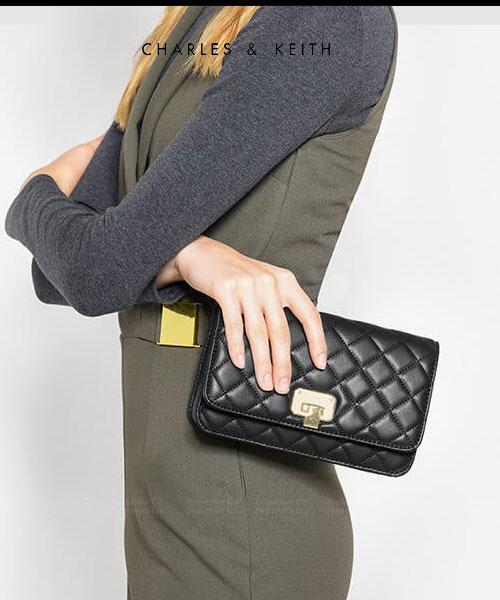 ★新加坡正品CHARLES & KEITH★菱格紋鍊條斜背包 (多夾層拉鍊口袋)