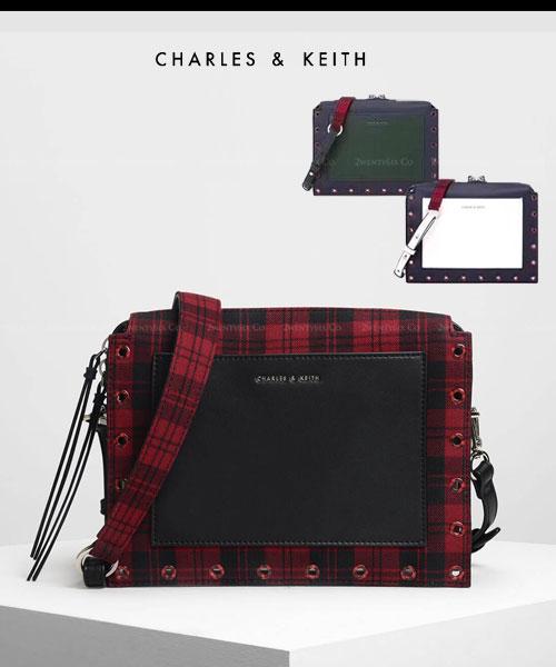 ★新加坡正品CHARLES & KEITH(火爆熱賣款)★格紋皮革跨帆布拉鏈小方包/單肩包 (3色)