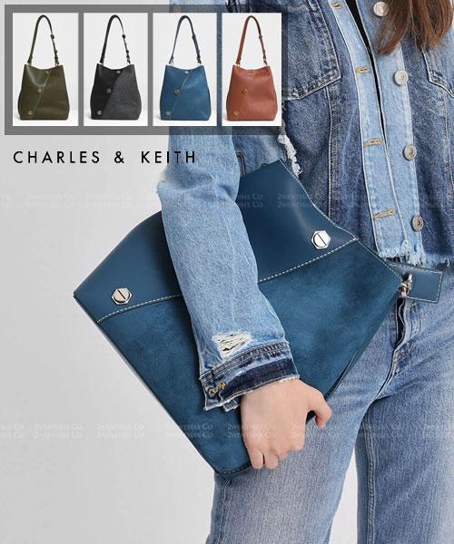 ★新加坡正品CHARLES & KEITH(火爆熱賣款)★鉚釘皮革跨絨布吸磁水桶包 (內附小包)(4色)